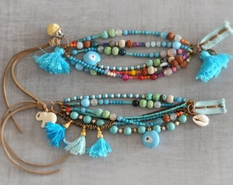 Boho,  Hippie,  Bohemian,  Gypsy Tassel Beaded Bracelets,  Choose One,  Free Shipping