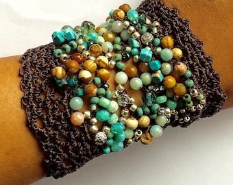 "Beaded cuff bracelet, freeform crochet, ""relic"", aqua, brown, fall fashion, crochet jewelry, bohemian jewelry, boho wedding, semi precious"