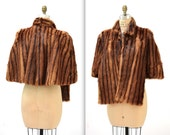 Vintage Brown Fur Stole Cape Wrap// Vintage Fur Caplet in Brown// 40s 50s Brown Fur Cape Stole Winter wedding