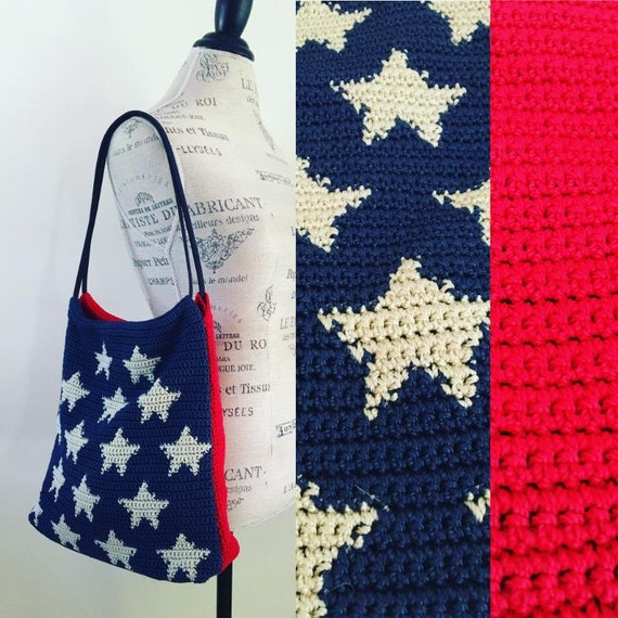 Vintage 80's American Flag Crochet Shoulder Bag 4th of July USA Wooven Knit Purse Handbag Messanger BoHo Festival Coachella Free People