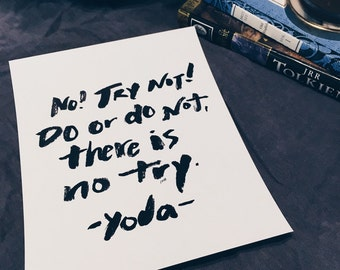 Star Wars Quote, Yoda Quote, Inspirational Quote, Creativity Quote, Typography Print, Chalkboard, Hand Lettered Quote, 8x10 Print
