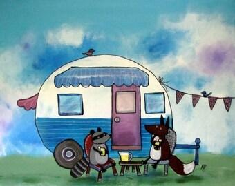 Nursery Art Print, Retro Camper Artwork, Woodland Animals, Fox, Raccoon, Whimsical Decor for Children, Camping Art, Storybook Style