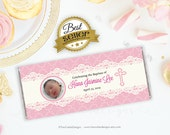 Baptism candy wrapper - photo - baptism candy bar - Pink lace - Personalized - Printable