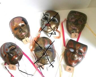 Venetian Brass Carnival Masks Circa 1960s