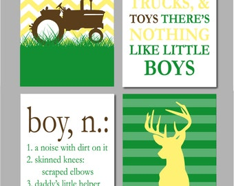 "Tractor Nursery Art, Farm Nursery Decor, Deer Sign, Deer Nursery, Tractor Wall Art, Farm Chevron Nursery Art - Set of four 8""x10""s"