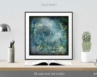 "Galaxy Print, 12x12"" Mixed Media print, Contemporary Art, Abstract Art, Star Print denim blue, pastel blue (305mm) ""Galaxy Series No. 2"""
