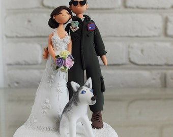 Pilot and bride wedding cake topper