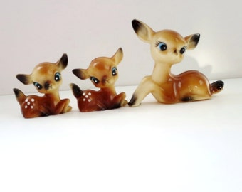 Vintage Deer Reindeer Figurines, Trio Kitsch Hong Kong Reindeer Figurines, Christmas Reindeer Display and Decor, Hard Plastic Hong Kong Deer