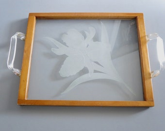 Vintage Etched Glass Decorative Serving Tray  /  Wood & Etched Glass Serving Tray Lucite Handles