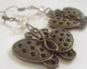 BUTTERFLY & CRYSTAL vintage earrings (1213)