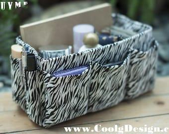 Purse ORGANIZER insert / Bag Organizer / Extra Sturdy / Black and White Zebra Print / Large 25x10cm