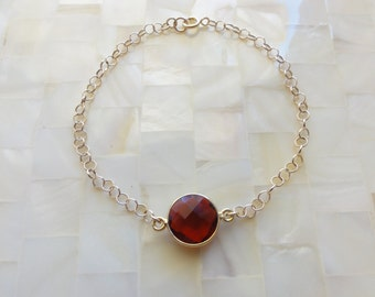 Step-Cut Faceted Ruby Red Quartz Vermeil Bezel Round Connector on Gold Chain Bracelet (B1177)