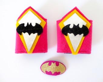 Pink Batman, Batgirl Wrist Cuffs and Hair Barrette / Kids Superhero Costume and Accessories