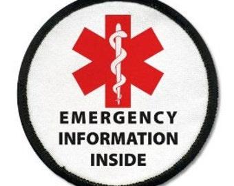 Emergency Information Inside Red Medical Alert Black Rim Hook VELCRO Patch (Choose Size)