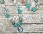 Frozen Elsa Necklace, Frozen Girls Chunky Necklace, Girls Bubblegum Chunky Necklace, Disney Frozen inspired girls chunky necklace.