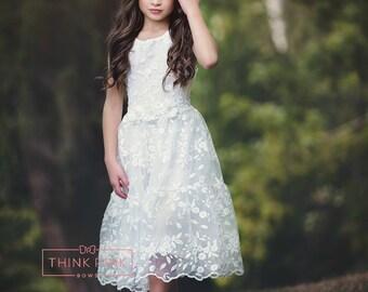 Flower Girl dress, lace flower girl dress, girls lace dress, off white lace dress, rustic flower girl dress,  birthday dress,Easter dress.