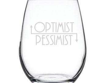 Stemless White Wine Glass-17 oz.-7849 Optimist/Pessimist