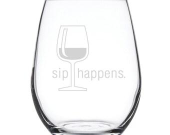 Stemless White Wine Glass-17 oz.-7852 Sip Happens