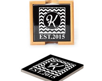 Ceramic Coasters with wooden holder Set of 4 - 10104 Chevron Monogram with Date