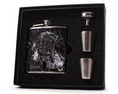Liquor Flask, Personalized Abstract Microphone Flask