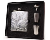 Flask // Personalized White Frosted Glass Flask Design FHD23