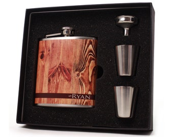 Personalized Flask for Men // Faux Old Wood Flask Gift Set // 6oz