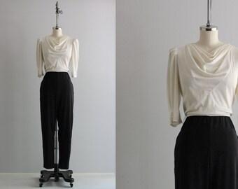 Colorblock Jumpsuit . Black and White 1990s Jumpsuit . Womens Jumpsuit