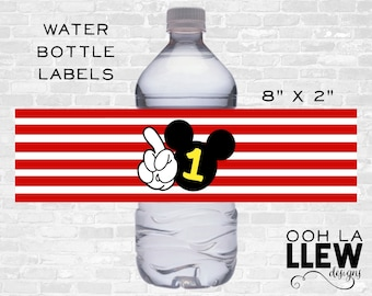INSTANT DOWNLOAD: Mickey Mouse Birthday Party Drink Label