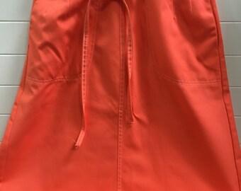 Vintage Koret of California Orange Poplin Womens Wrap Skirt Size 12 with patch pockets- wrap skirt, Koret skirt, 1970's skirt, orange skirt