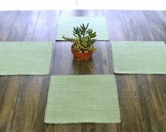 Mint Green Burlap Square Placemats