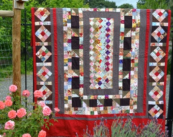 Queen Size Quilt, Kantha Hand Quilted, Fabric Collection Quilt