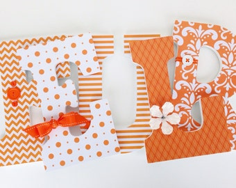 Orange Wood Letters for Nursery - Unisex Bedroom - Girl or Boy Nursery - Wood Wall Decorations
