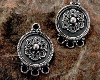 Sterling Silver Chandeliers - 1 Pair Boho Victorian Medallion Chandeliers - Can be used as Pendants or  3 -1 Connectors  E56