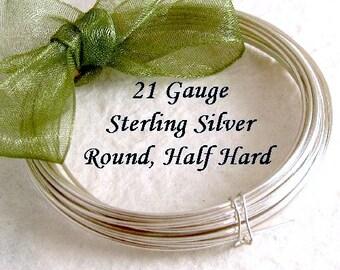 21 Gauge Sterling Silver Wire Half Hard Round   3FT - HH21S3