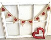Valentine Banner, Valentines Day Banner, Valentine Photo Prop, Valentine Gift, Valentine Burlap Banner, Heart Banner, Red Heart Banner