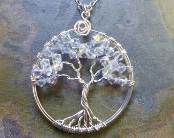 Sterling Silver Crystal Tree of Life Pendant -Wire Wrapped Crystal Tree of life Jewelry- April Birthstone,Bridal  Necklace