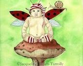 SALE:  Fairy Art Print / Baby Fairy / Fantasy Art / Hooligan / Snail / Striped Socks / Jacqueline Collen-Tarrolly
