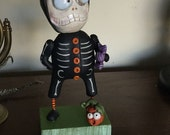 SALE Halloween folk art Skelly wearing Bone pajamas Janell Berryman Pumpkinseeds