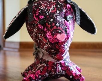 Decorative Stuffed Dog in a Black, Purple, and Pink Design