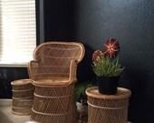 vintage boho 70's peacock wicker rattan patio chair / fan chair / outdoor lawn chair