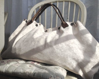 Sand and Sea WEEKENDER 1 - - Summer OWERNIGHT BAG from canvas and leather
