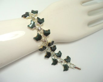 Dark Green Thermoset Goldtone Link Bracelet Unsigned Coro or Lisner