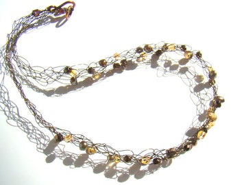 Crochet wire necklace brown freshwater pearls and gold Czech glass on bronze copper rustic wire crochet casual beaded jewelry  - CR0015