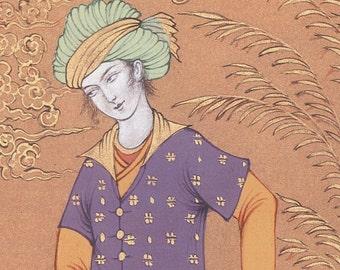 Original Persian painting Tambourine player/oriental miniature - artprint/Safavid style miniature