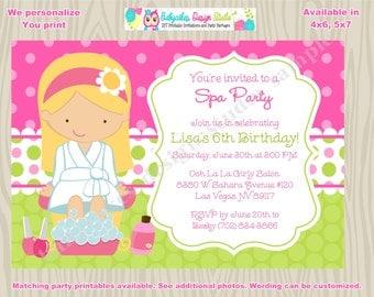 Spa Party Invitation Invite Spa birthday spa party sleepover pamper party sleepover spa party Printable CHOOSE YOUR GIRL