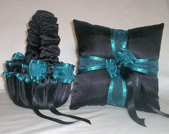 Black Satin With Teal Ribbon Trim Flower Girl Basket And Ring Bearer Pillow Set 2