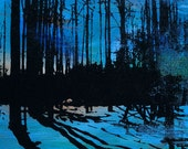 Nature Print: Trees and Shadows Landscape (Blue Abstract Painting with Black Silkscreen - Various Size Options) Forest Wall Art
