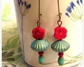 Big Sale Southwestern Earrings. Dark red coral flower, vintage turquoise bicone, czech bead. Santa Fe. Handmade beaded.