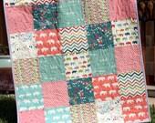 Baby Girl Organic Quilt, Blue Coral Pink Grey Gray, Birch Fabric Chevron Elephants Modern Blanket, Chevron Crib Blanket Bedding, All Natural