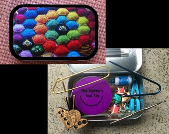 Beekeeper's Quilt & Hexipuffs: The Knitter's Tool Tin for your Knitting Project Bag